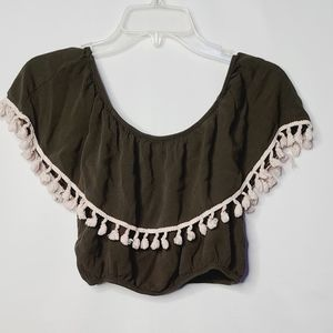 Anthropologie Lavender Field crop tassel blouse M